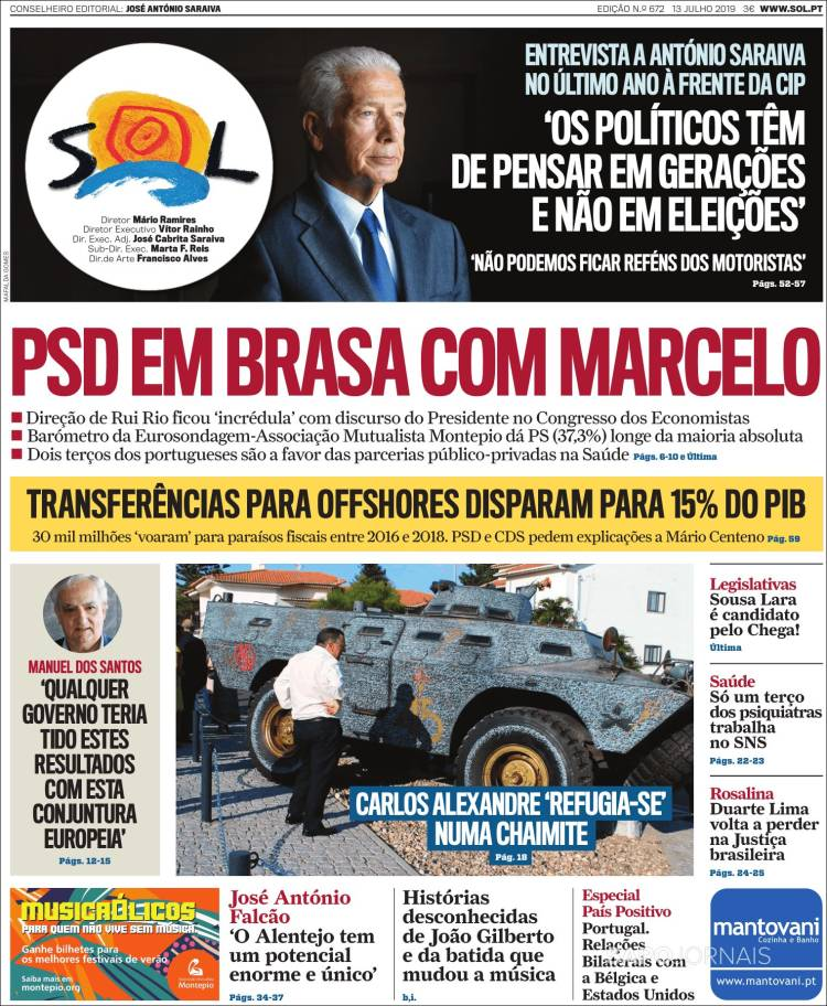 Portada de Jornal Sol (Portugal)
