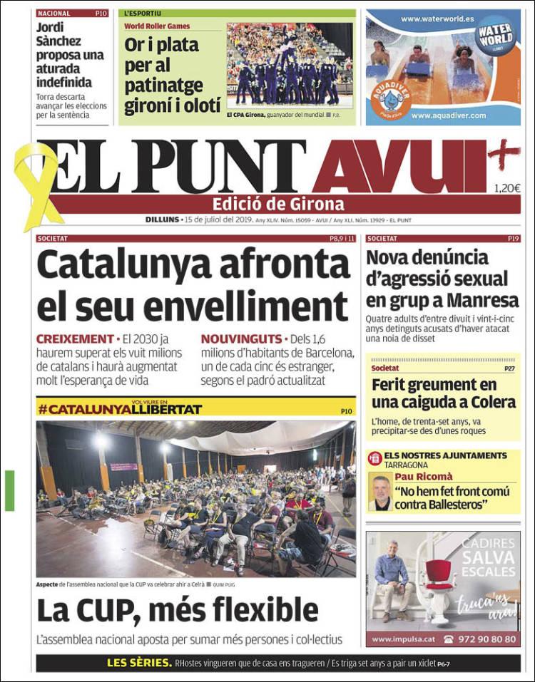 Portada de El Punt Avui - Girona (España)