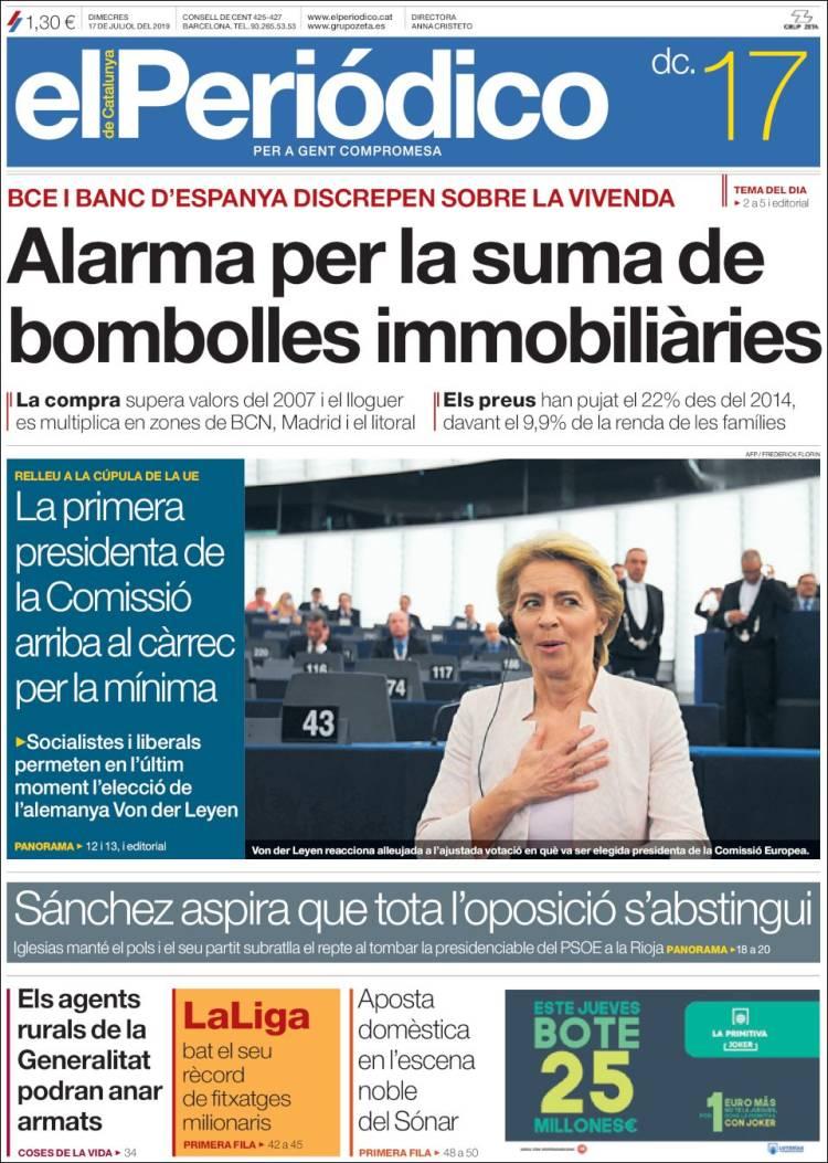 Portada de El Periódico de Catalunya (España)
