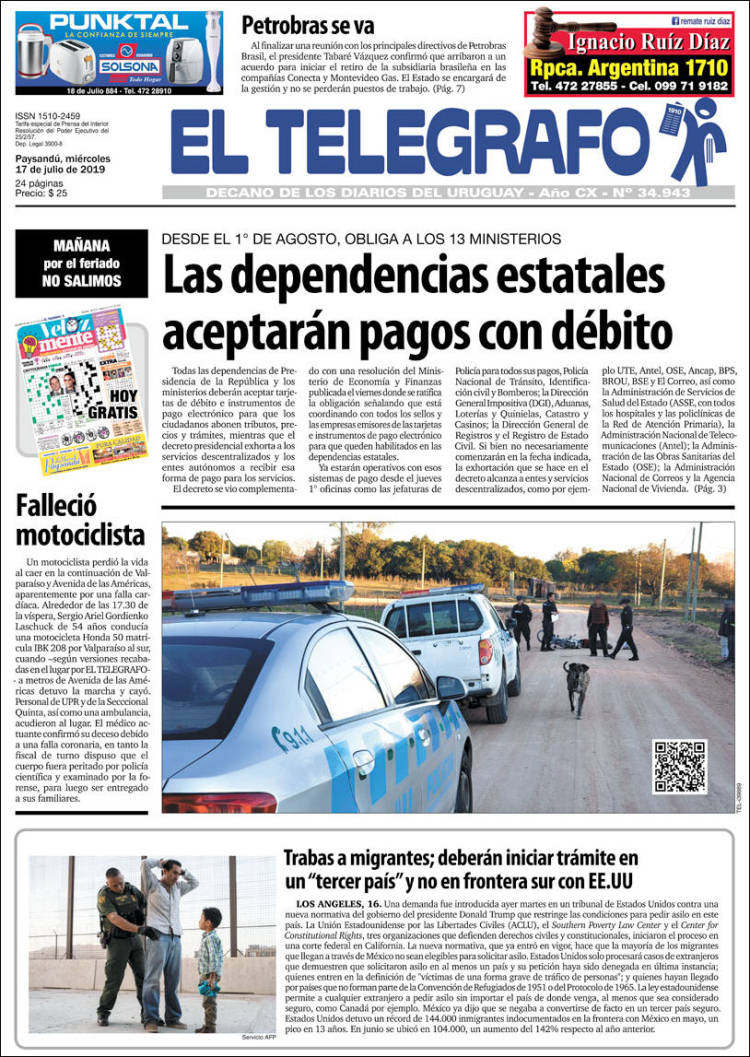 Portada de El Telégrafo (Uruguay)