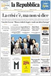 Portada de La Repubblica (Italie)