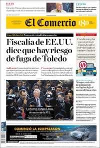 Portada de El Comercio (Pérou)