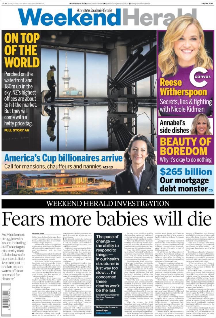 Portada de The New Zealand Herald (New Zealand)