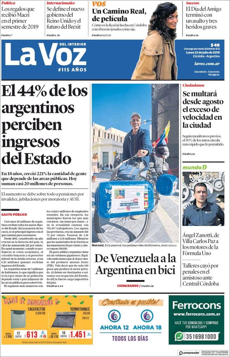 Portada de La Voz del Interior (Argentina)