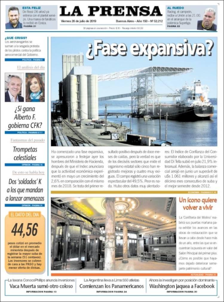Portada de La Prensa (Argentina)