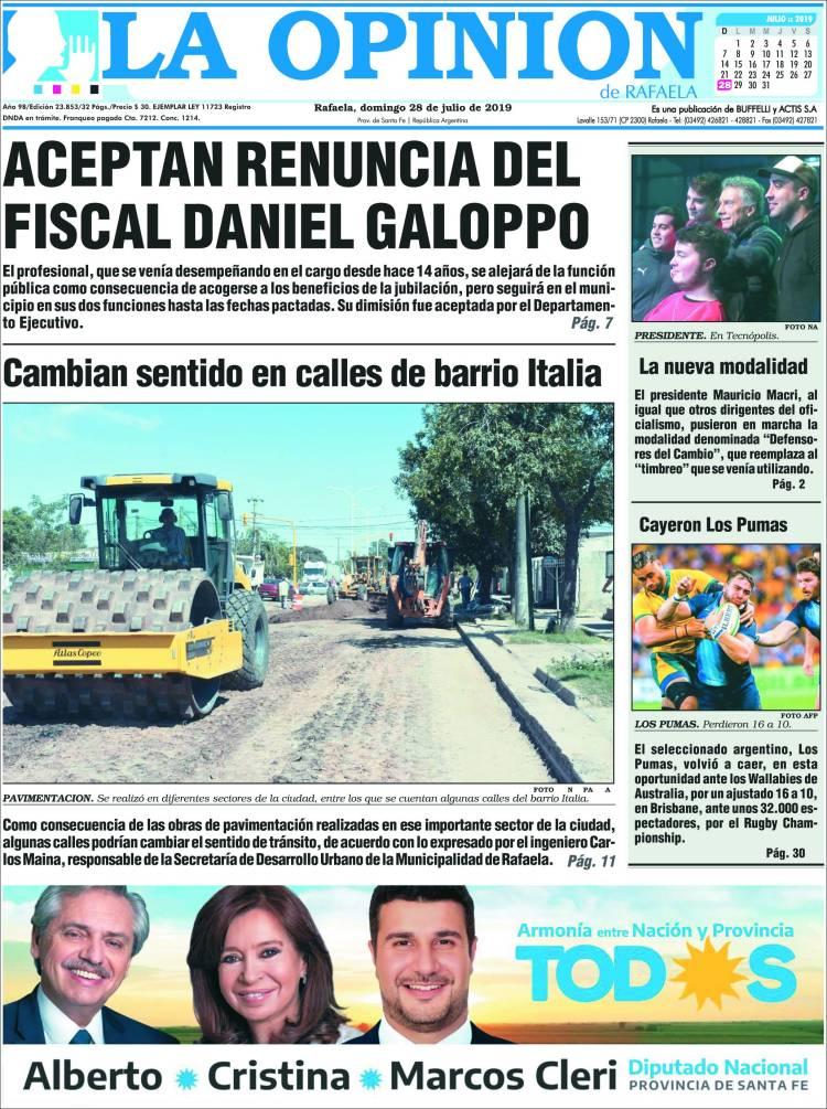 Portada de La Opinión (Argentina)