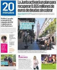 Portada de 20 Minutos - Sevilla (Spain)