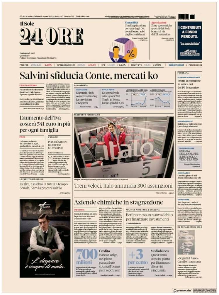 Portada de Il Sole 24 ORE (Italia)