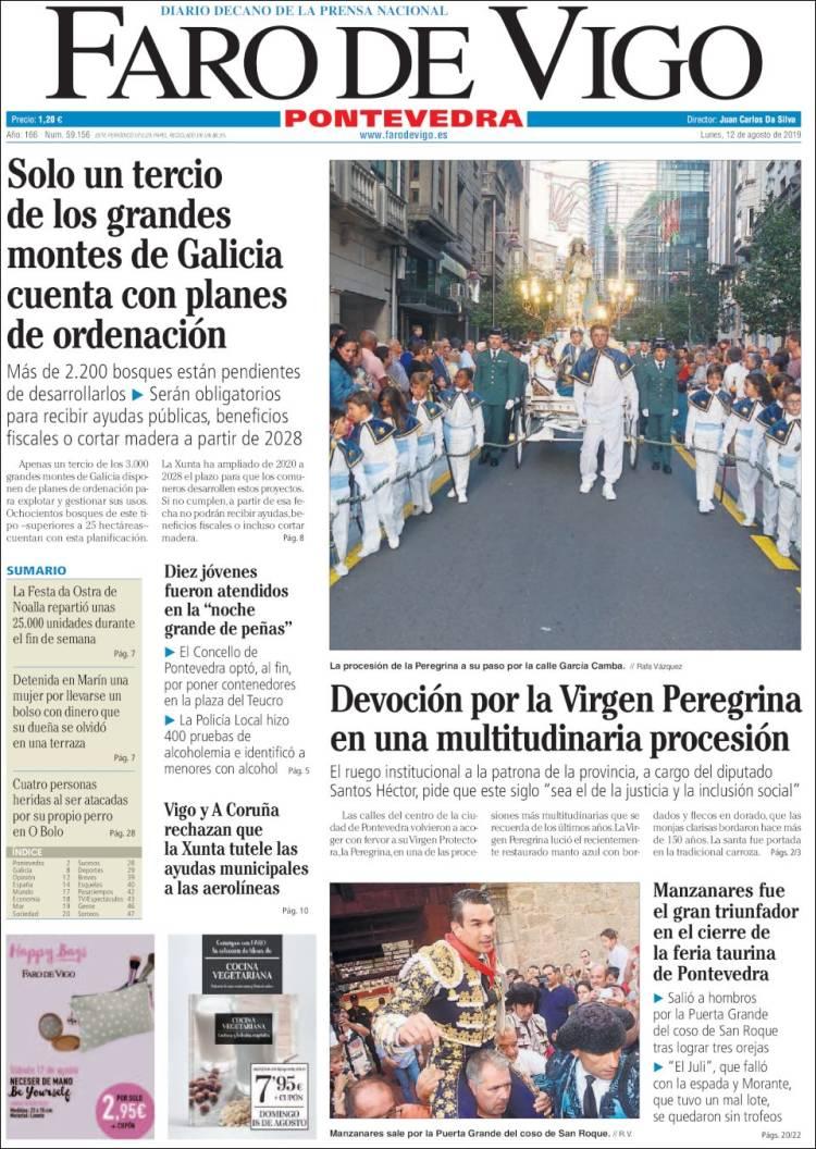 Periódico El Faro De Vigo Pontevedra España Periódicos