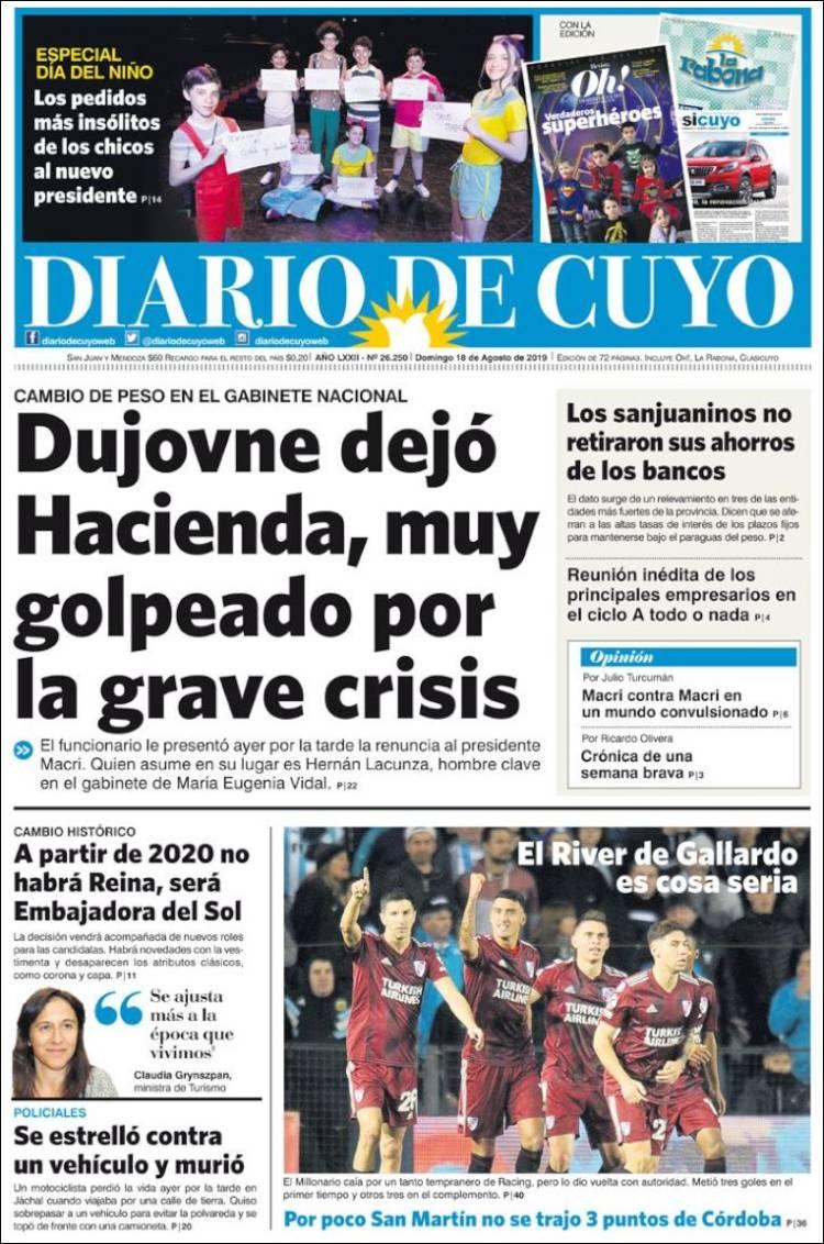 Portada de Diario de Cuyo (Argentina)