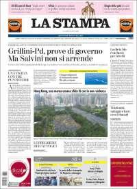 Portada de La Stampa (Italia)