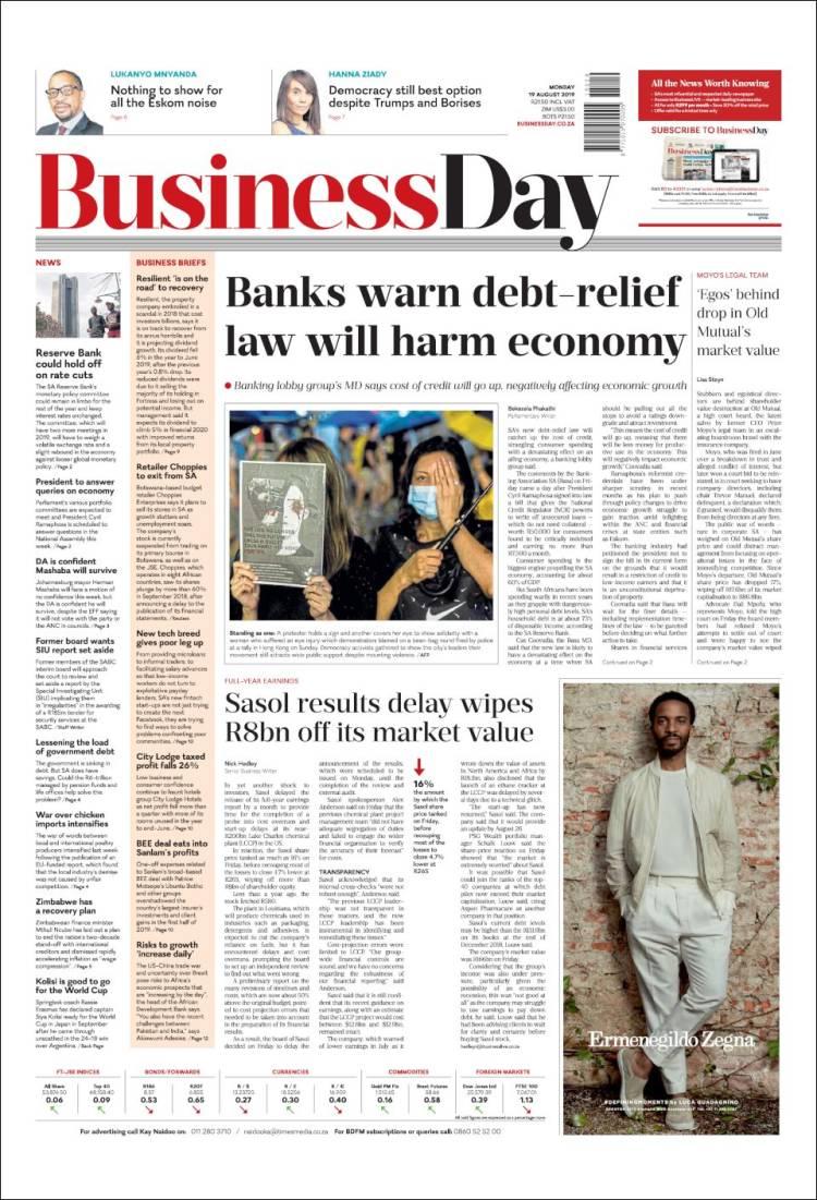 Portada de Business Day (Afrique du Sud)