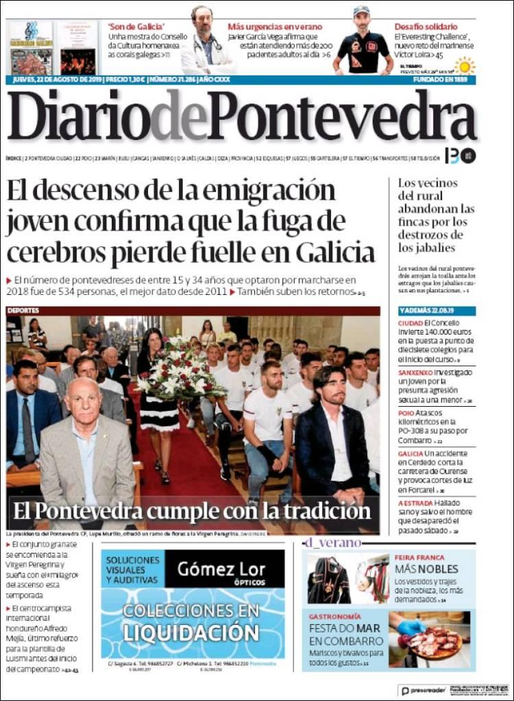 Portada de Diario de Pontevedra (España)