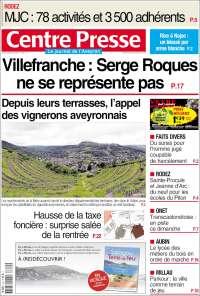 Portada de Centre Presse (Francia)