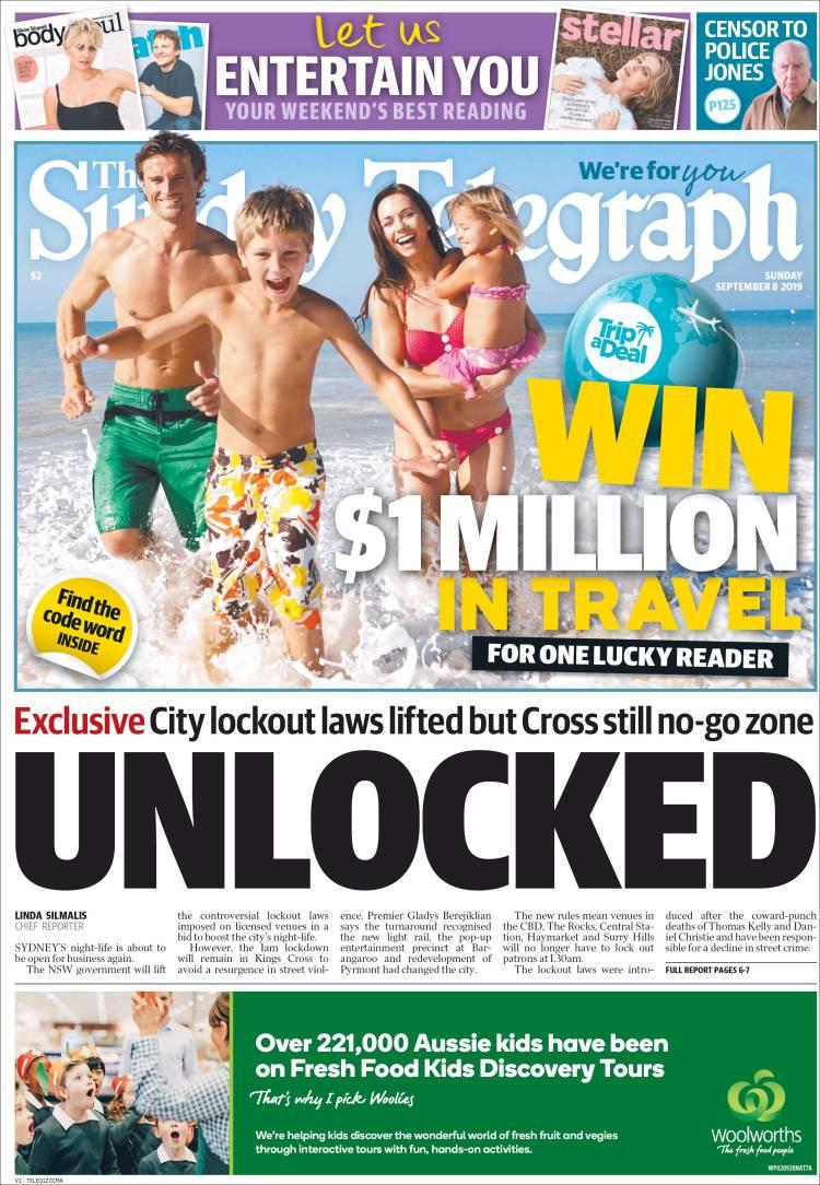 Portada de The Daily Telegraph (Australia)