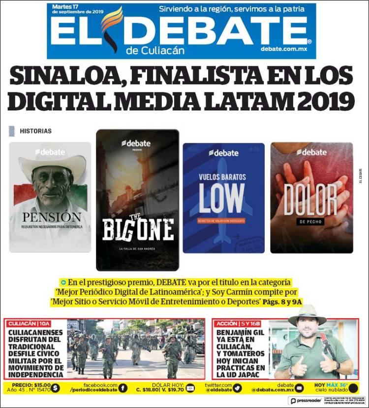 Portada de El Debate de Culiacán (Mexico)