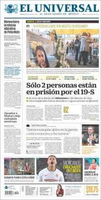 Portada de El Universal (Mexique)