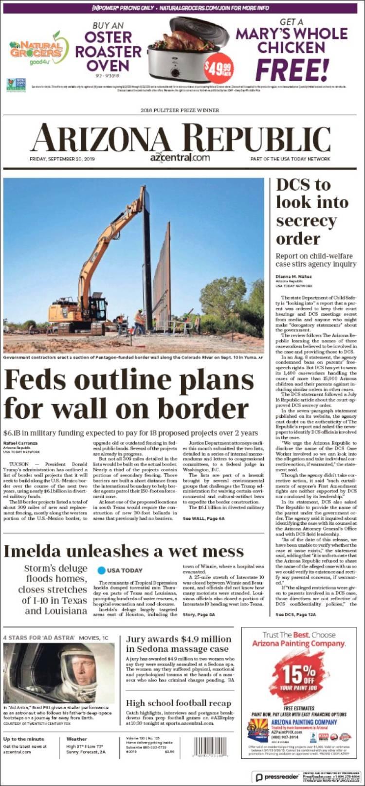 Portada de Arizona Republic News (USA)