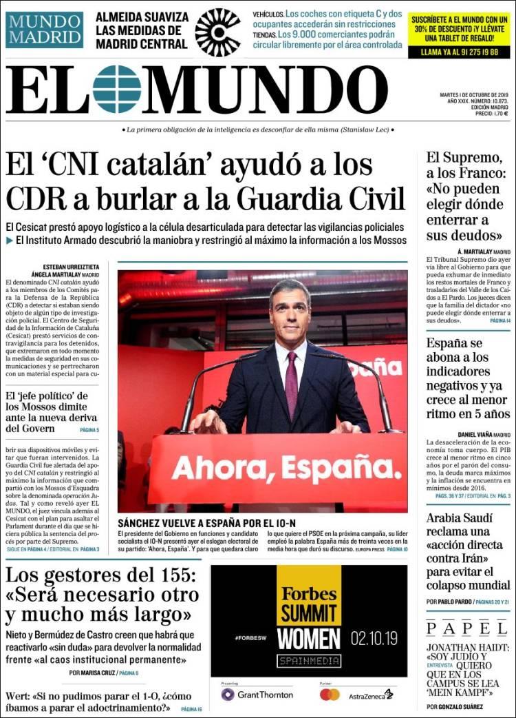 Periódico El Mundo (España). Periódicos de España. Toda la