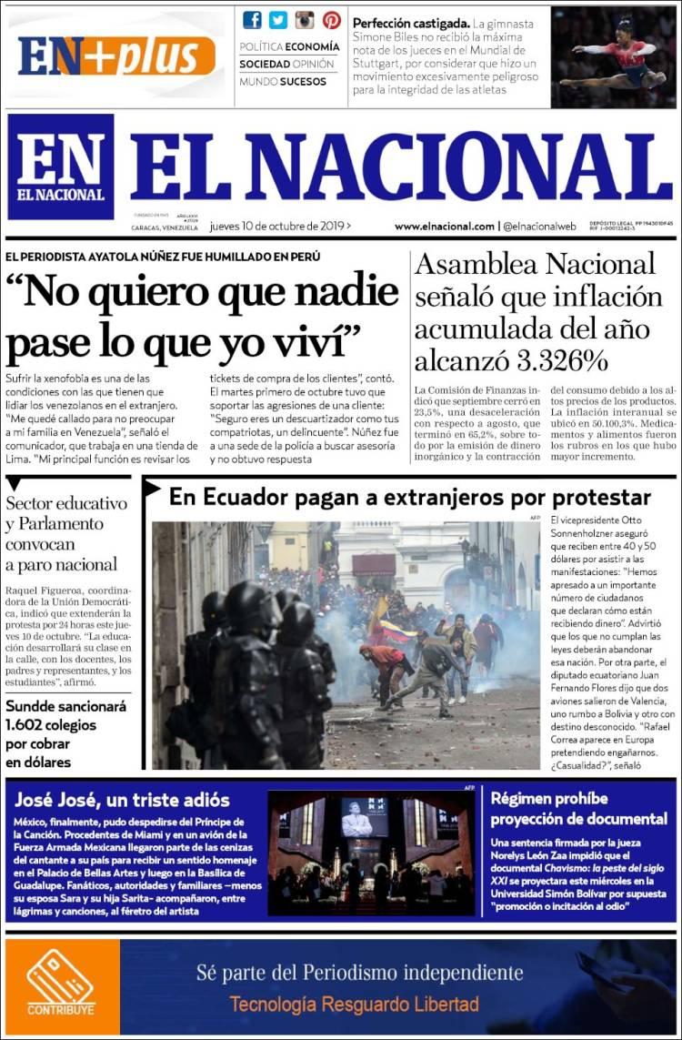 Periodico El Nacional Venezuela Periodicos De Venezuela Edicion De Jueves 10 De Octubre De 2019 Kiosko Net