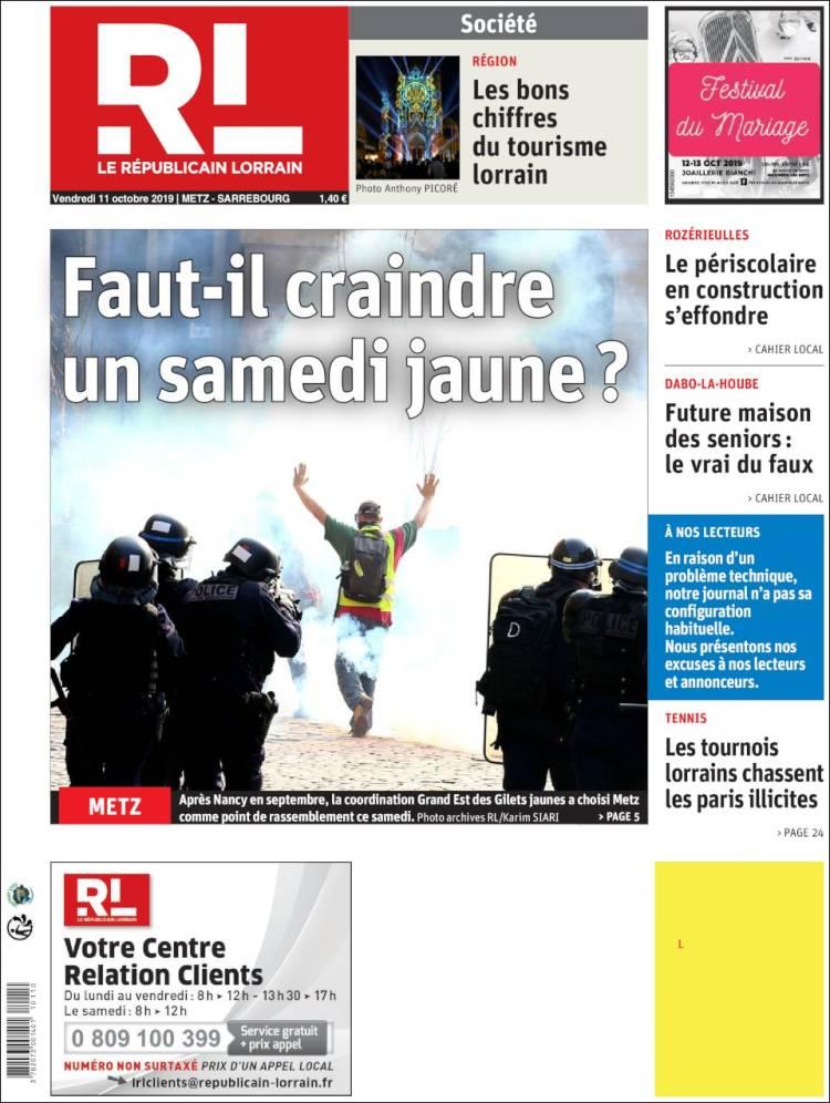 Periodico Le Republicain Lorrain Francia Periodicos De Francia
