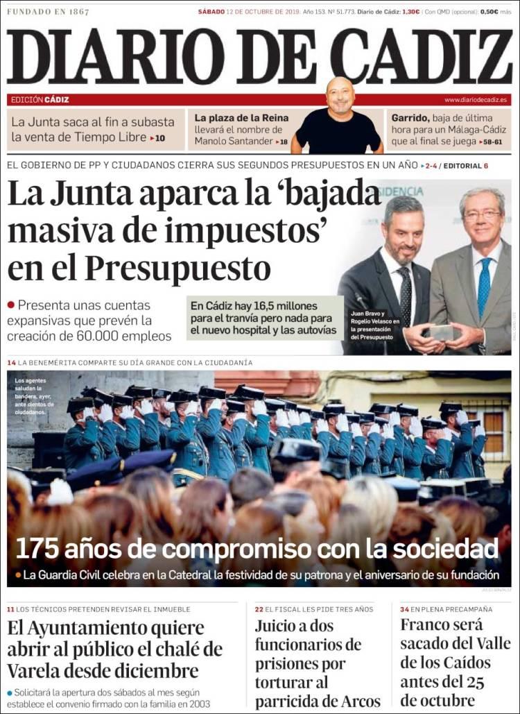 Portada de Diario de Cádiz (España)