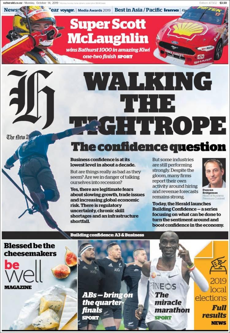 Portada de The New Zealand Herald (Nueva Zelanda)