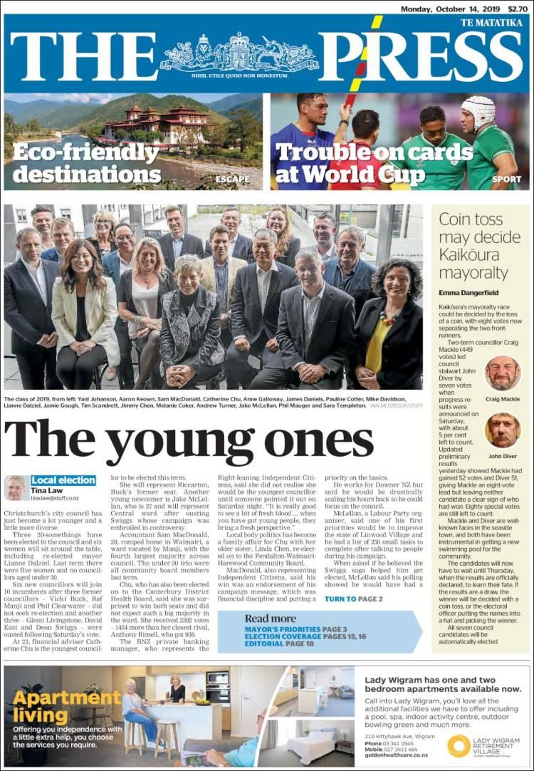 Portada de The Press (Nueva Zelanda)