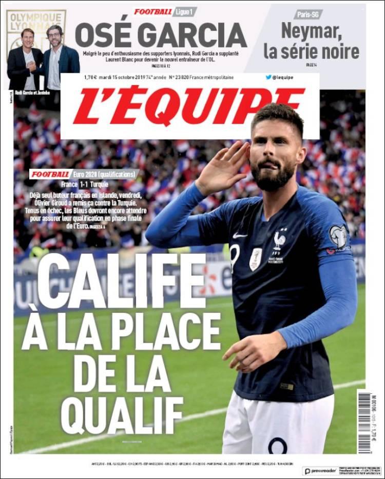 Portada de L'Equipe (France)