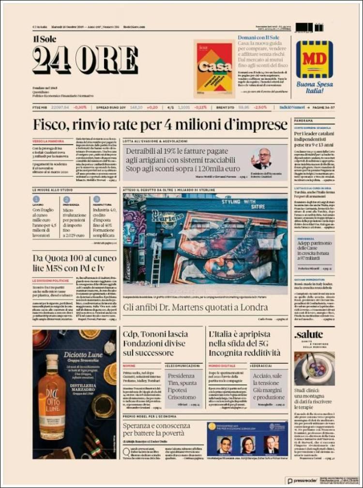 Portada de Il Sole 24 ORE (Italie)