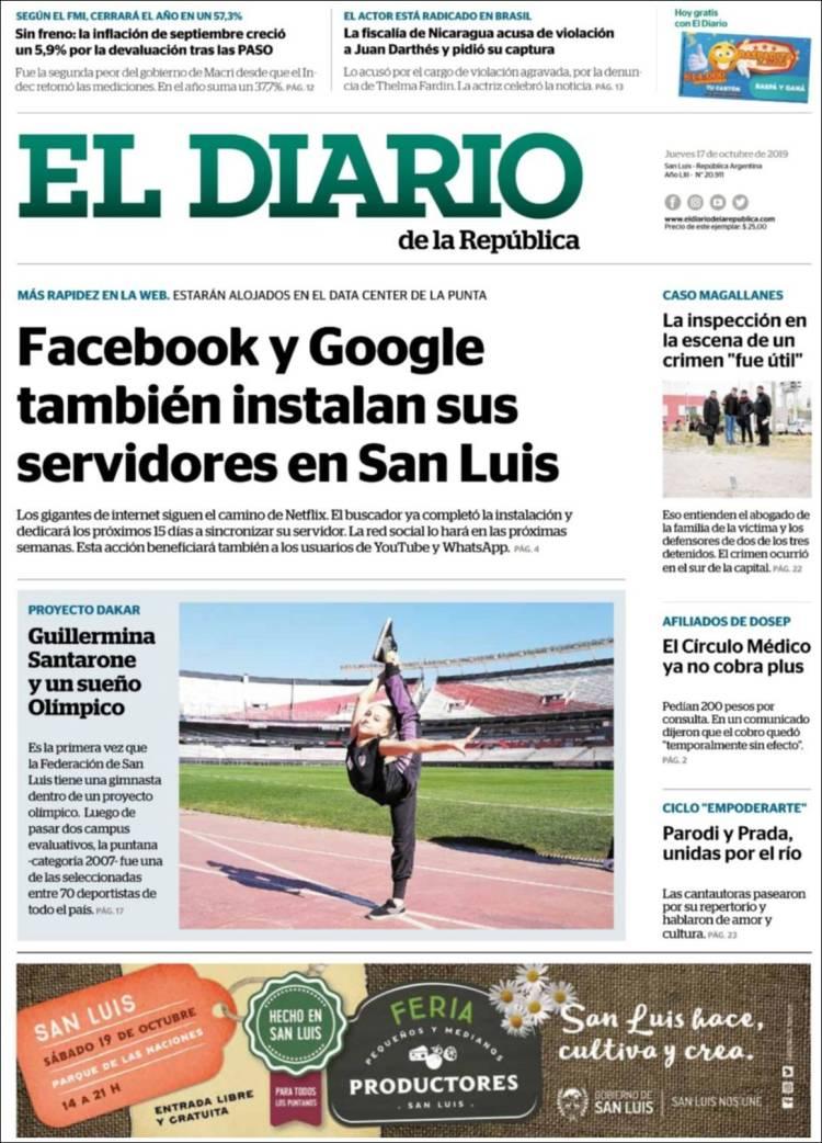 Portada de Diario de la República (Argentine)