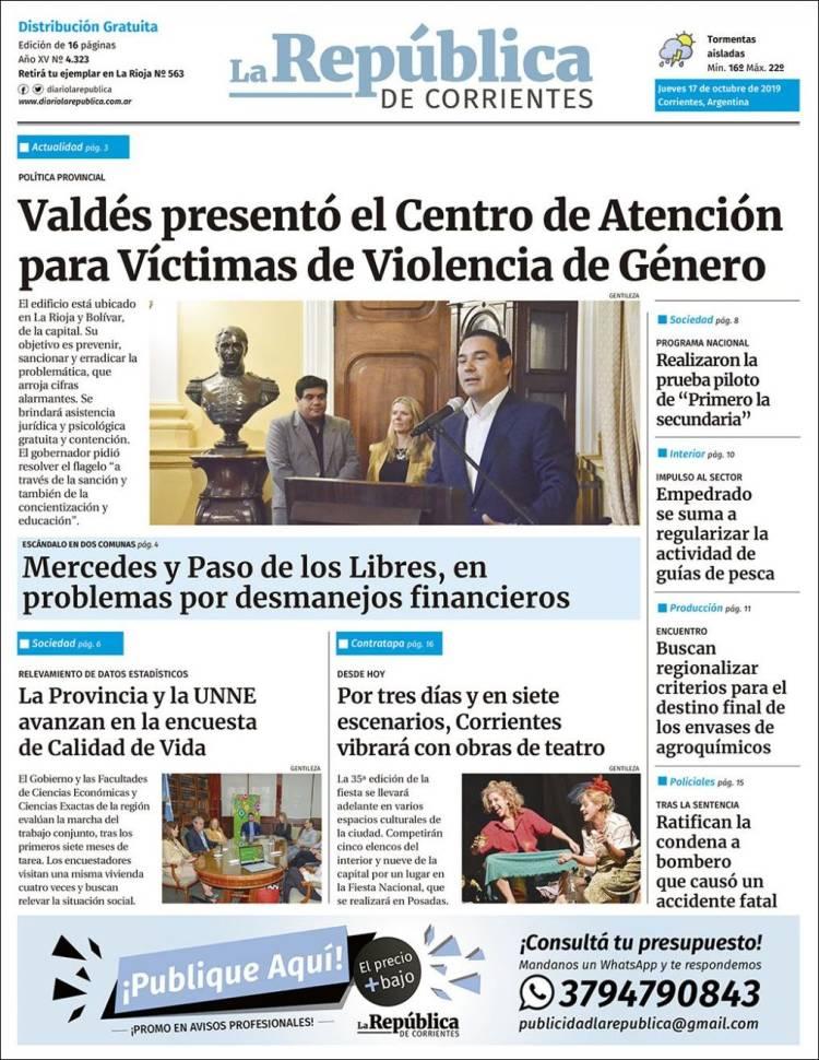 Portada de La República de Corrientes (Argentine)