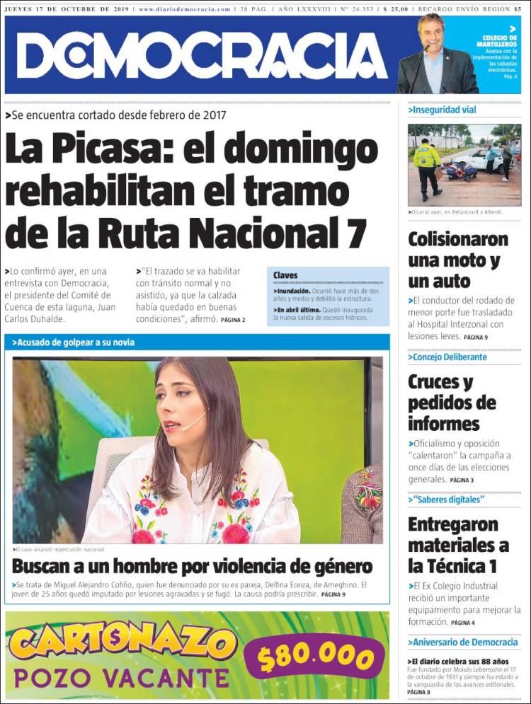 Portada de Diario Democracia (Argentine)