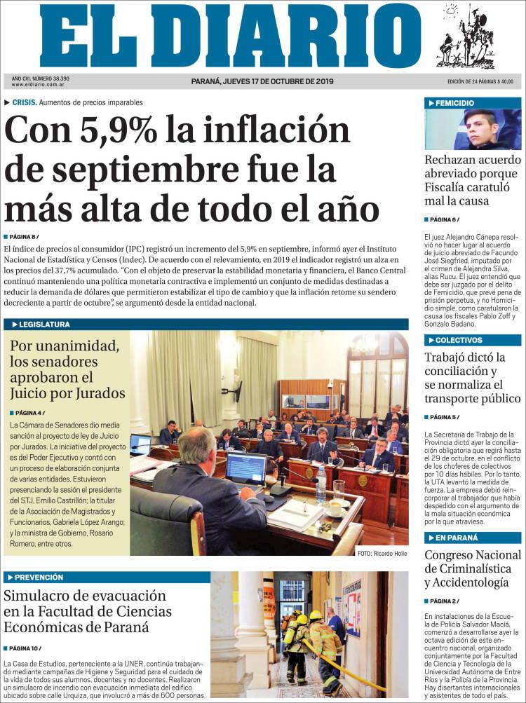 Portada de El Diario de Paraná (Argentine)