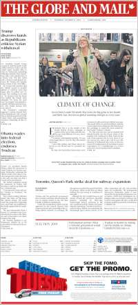 Portada de The Globe and Mail (Canadá)