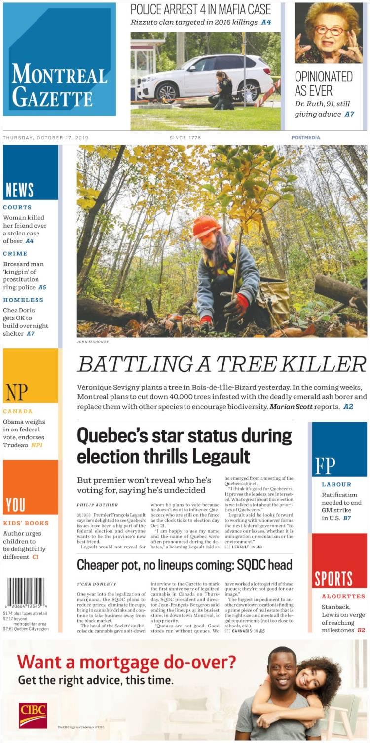 Portada de The Gazette (Canadá)