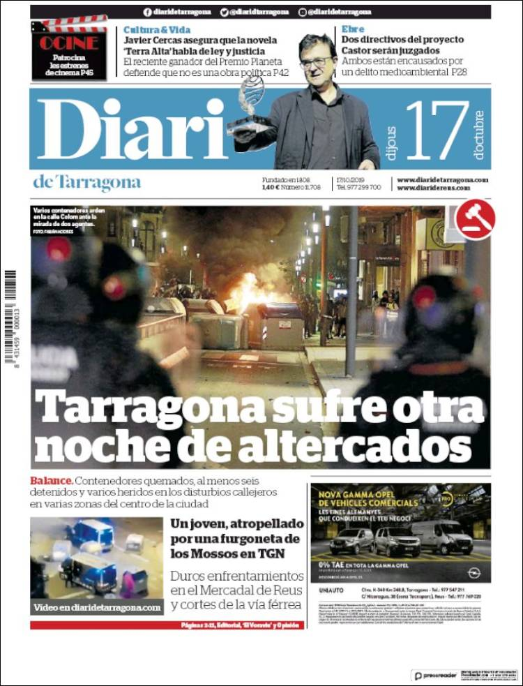 Portada de Diari de Tarragona (España)
