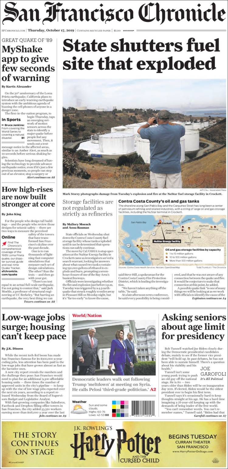 Portada de San Francisco Chronicle (USA)