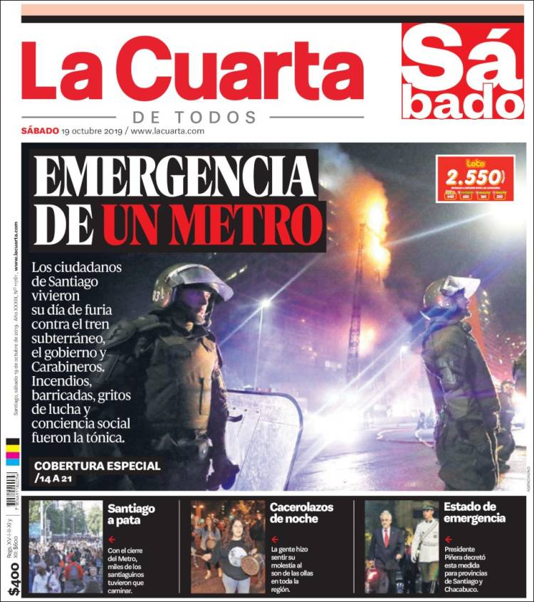 Periódico La Cuarta (Chile). Periódicos de Chile. Toda la ...