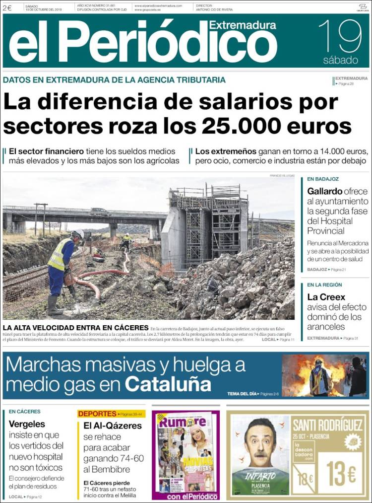 Portada de El Periódico de Extremadura (España)