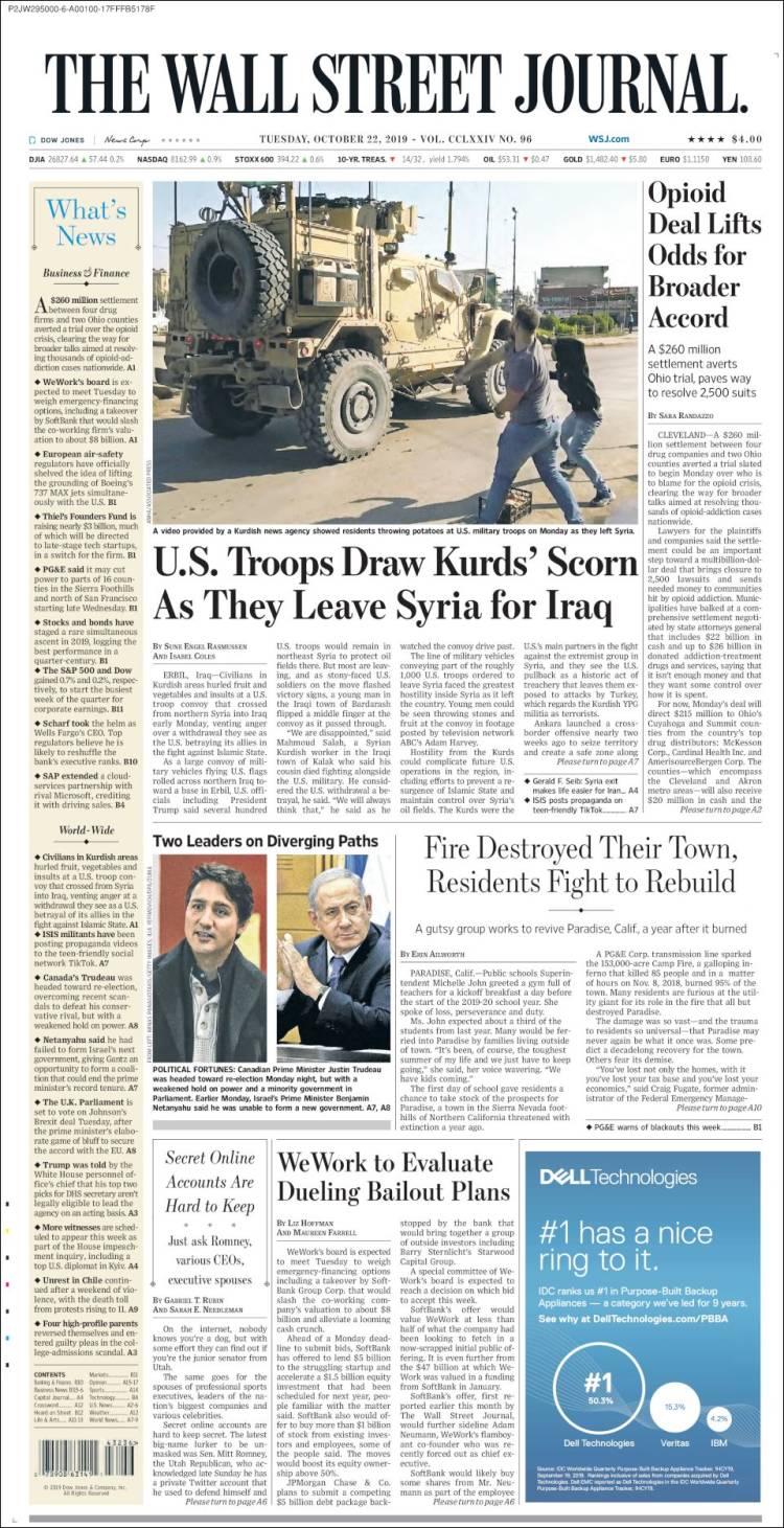 Portada de Wall Street Journal (États-Unis)