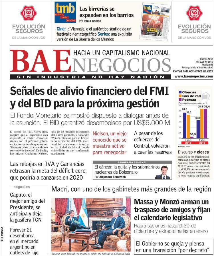 Portada de Buenos Aires Económico (Argentina)
