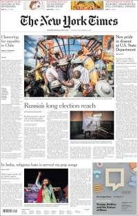 Portada de International New York Times (Europe)