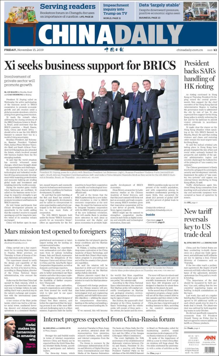 Portada de China Daily (China)