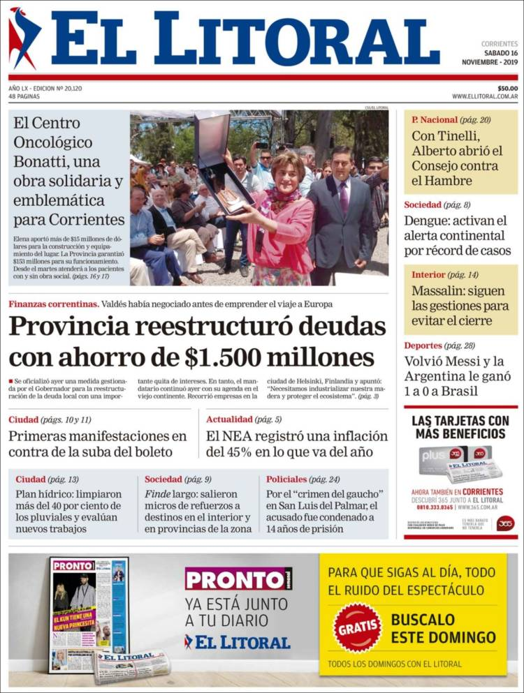 Portada de El Litoral Corrientes (Argentina)