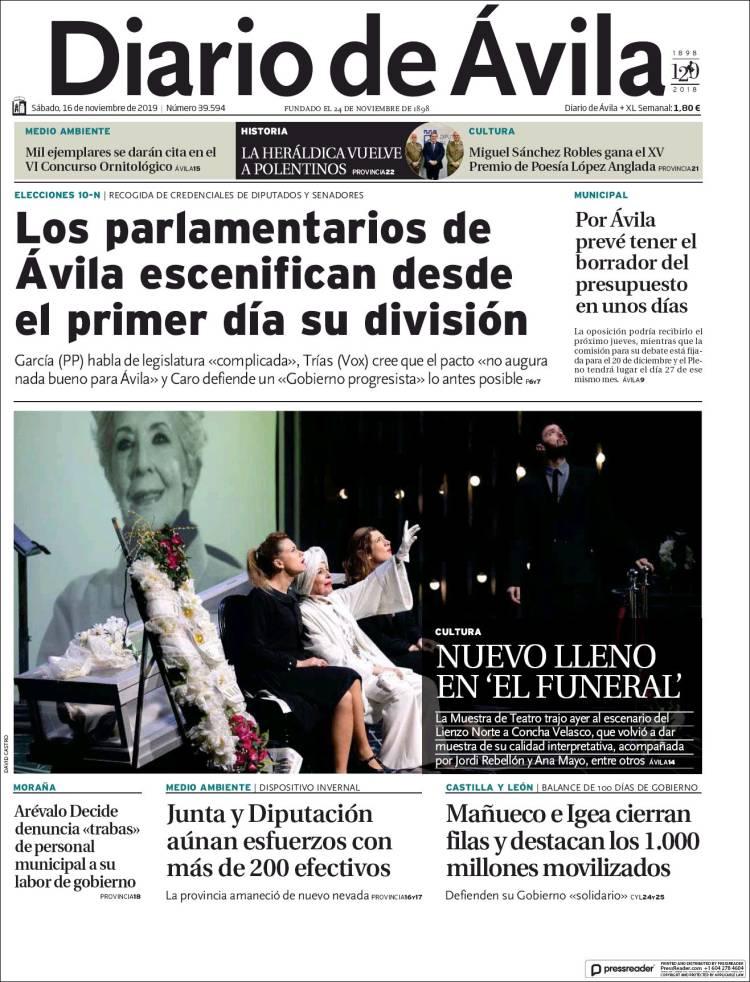 Portada de Diario de Ávila (Spain)