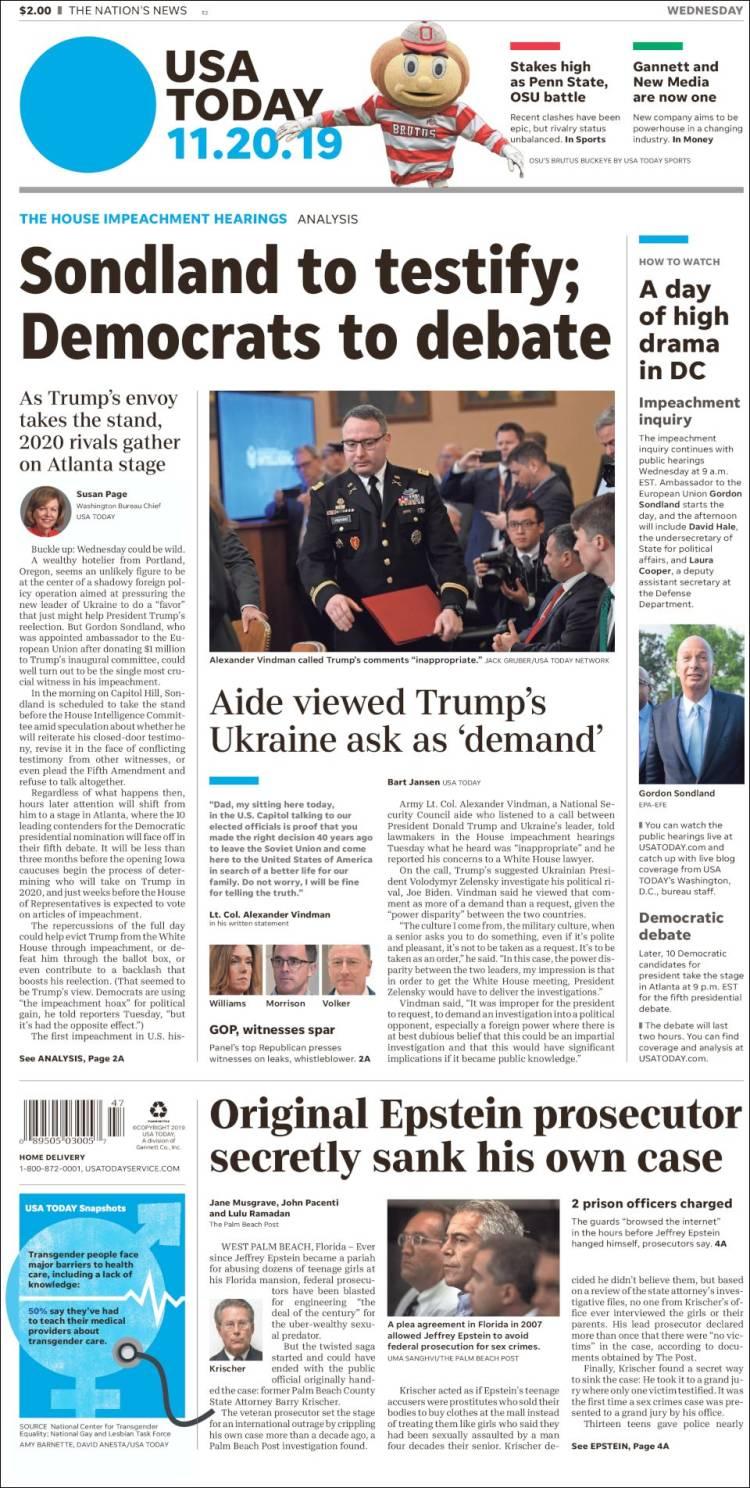 Portada de USA Today (USA)