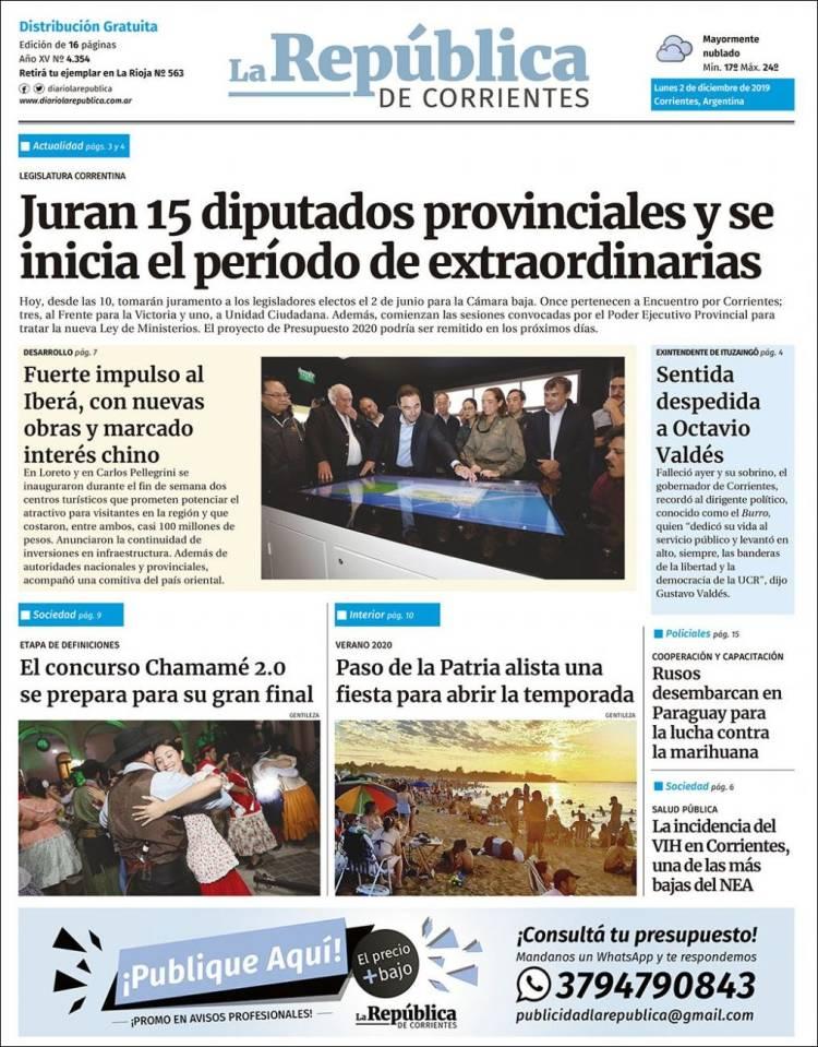 Portada de La República de Corrientes (Argentina)
