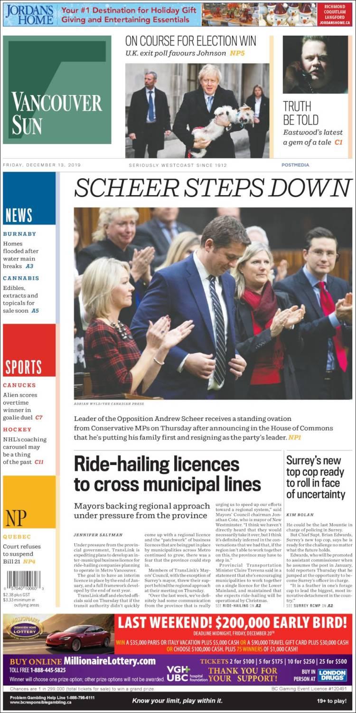 Portada de The Vancouver Sun (Canada)