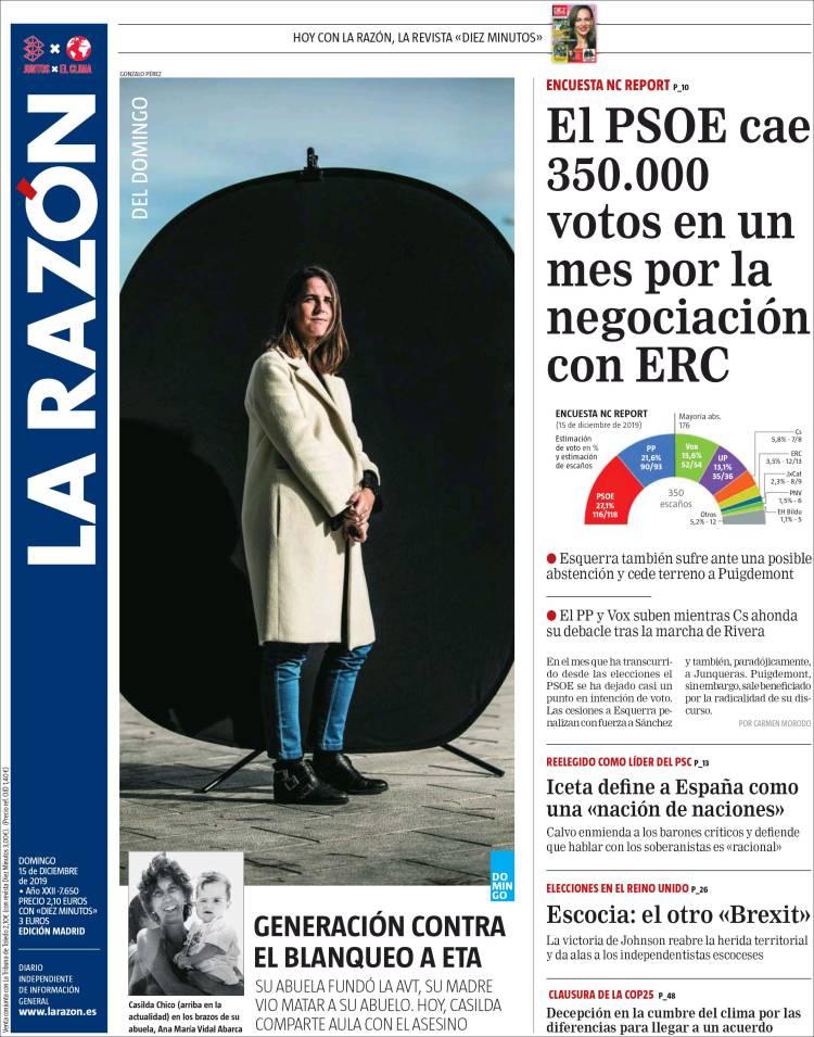 Portada de La Razón (Spain)